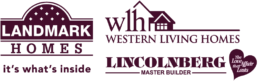 Logos of 3 of the featured home builders exclusive to Rosewood at Secord. Western Living Homes, Lincolnberg Master Builder and Landmark Homes