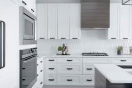 Modern White Black and Grey Kitchen in The Orlando by Landmark Homes