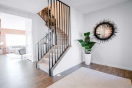Modern Iron Staircase in The Orlando Showhome in Rosewood at Secord