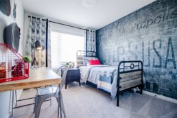 Bedroom in The Orlando Showhome in Rosewood at Secord Edmonton