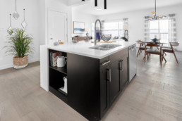 Modern Kitchen in The Grahame Showhome in Rosewood at Secord Edmonton