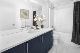 Upper Floor Bathroom in The Grahame Showhome in Rosewood at Secord Edmonton