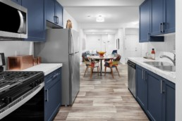 Blue Basement Suite Kitchen in The Grahame Showhome at Rosewood in Edmonton
