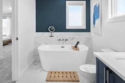 Bathroom with Standalone Tub in The Grahame Showhome in Rosewood at Secord Edmonton